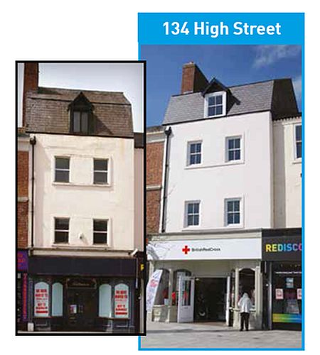 Before and after pictures of the Heritage grant funded renovation of the building where the fire was started