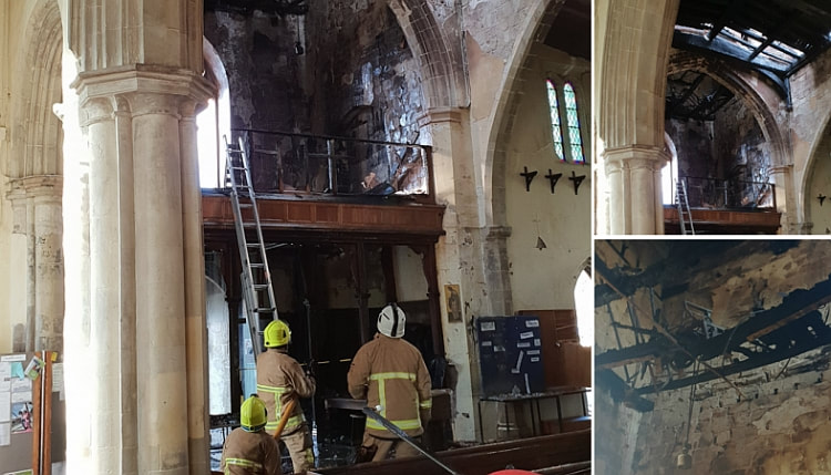 The church roof and bell tower were severely damaged by the fire