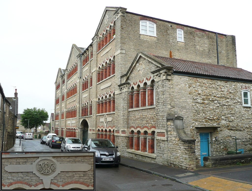The former Selwood Printing Works (Credits – Main Picture: © Copyright Humphrey Bolton; Inset – Google)