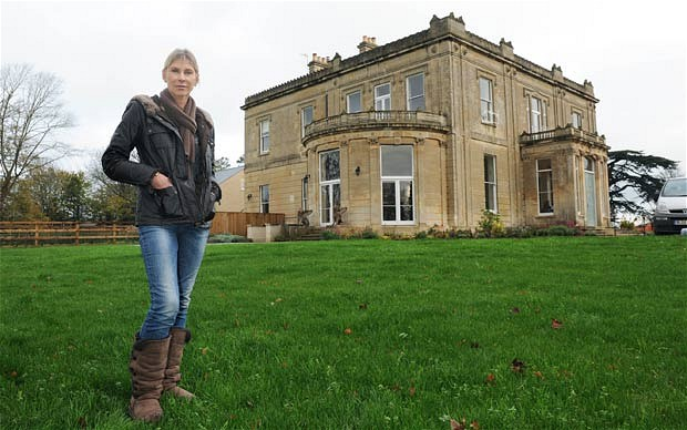 Sharron Davies in the garden of her home, Berryfield House, the town's former hospital, in Bradford-on-Avon, Wilts