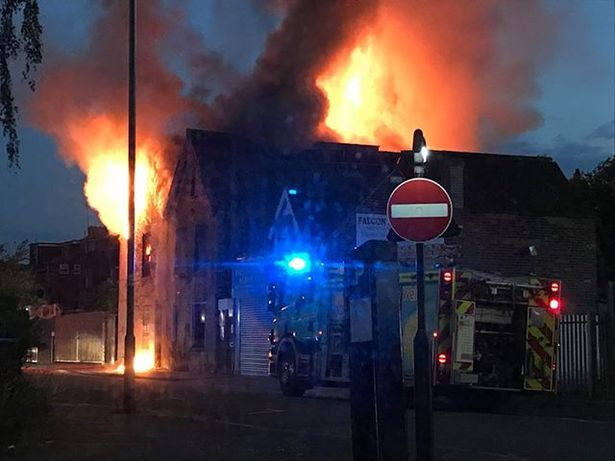 The building in Grey Street has been completely destroyed in a fire