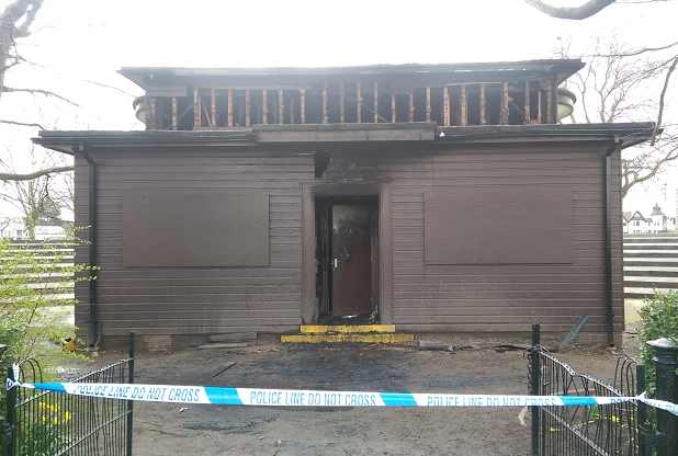 The bandstand damaged by fire