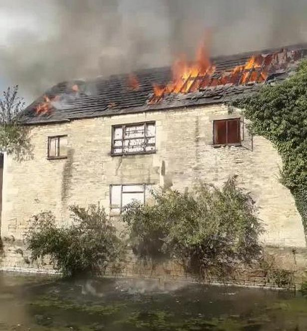 The fire takes hold at the abandoned building in Stroud