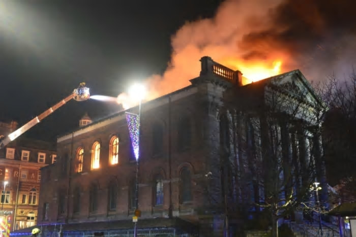 The Wesley building on fire. Picture by Tom Collins.