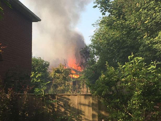 Large flames could be seen after a fire broke out at St. Margaret Beavan on Almonds Green, West Derby