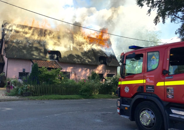 Flames swept across the thatched roof at Yeoman's Cottage in Rockland All Saints.
